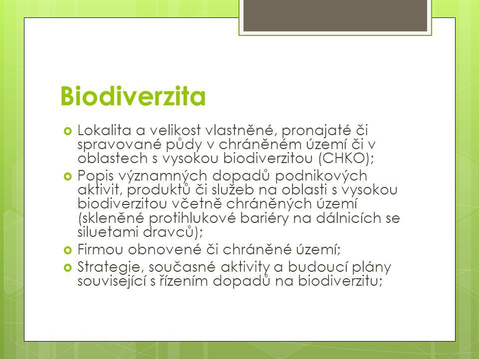 Biodiverzita Lokalita a velikost vlastněné, pronajaté či spravované půdy v chráněném území či v oblastech s vysokou biodiverzitou (CHKO);