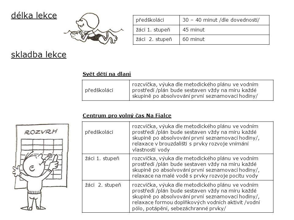 délka lekce skladba lekce předškoláci 30 – 40 minut /dle dovedností/