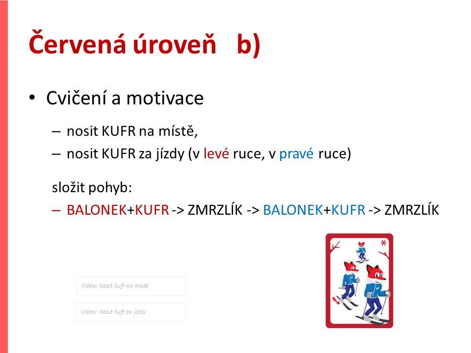 Červená úroveň b) Cvičení a motivace nosit KUFR na místě,