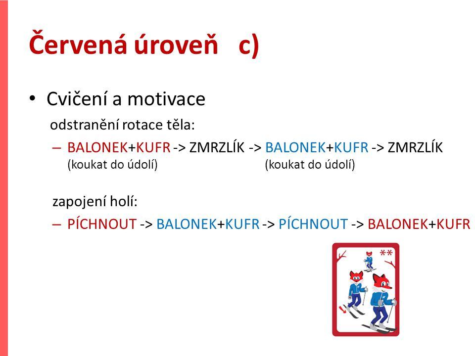 Červená úroveň c) Cvičení a motivace odstranění rotace těla: