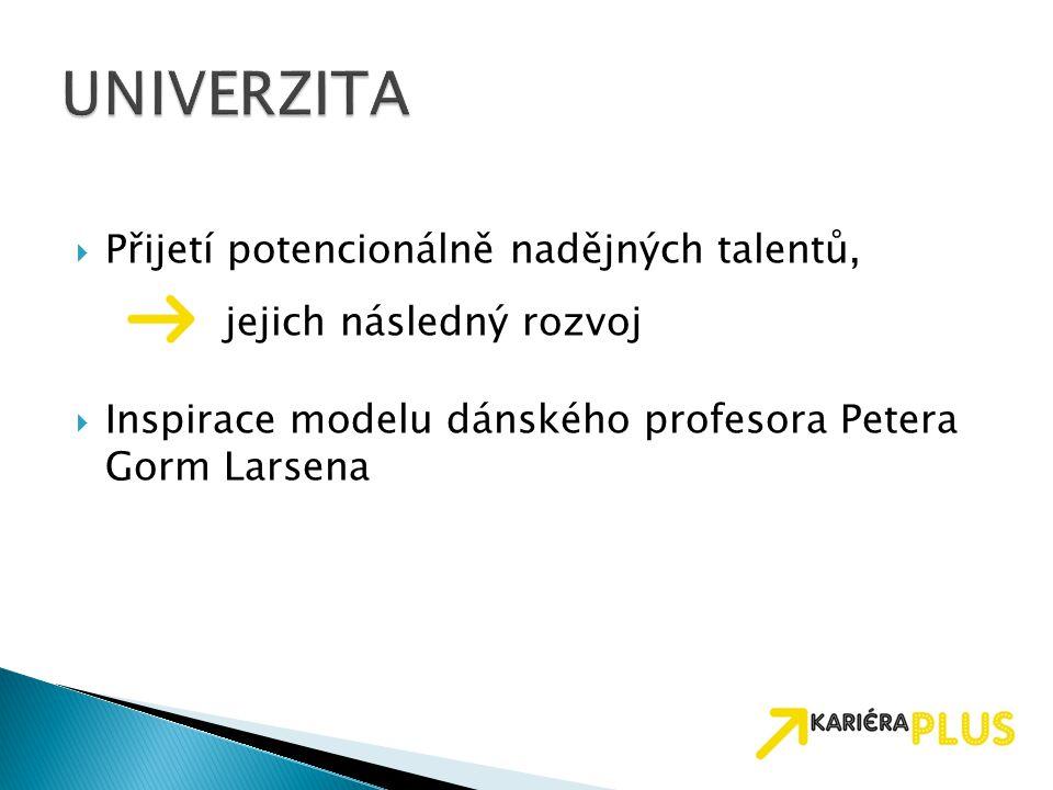 UNIVERZITA Přijetí potencionálně nadějných talentů,