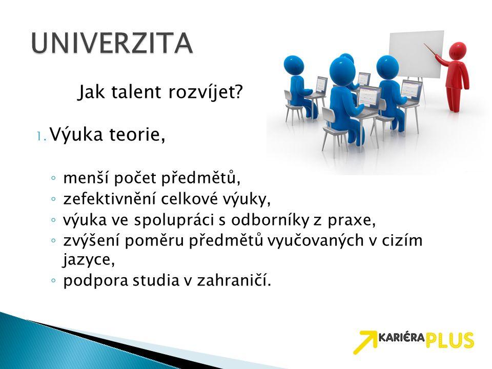 UNIVERZITA Jak talent rozvíjet Výuka teorie, menší počet předmětů,