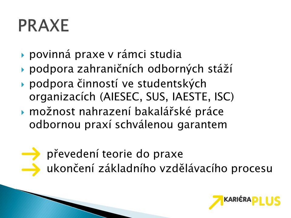 PRAXE povinná praxe v rámci studia