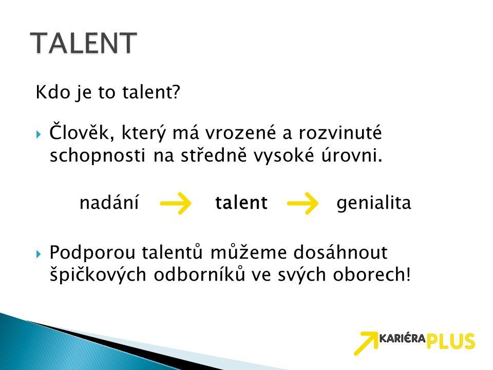 TALENT Kdo je to talent Člověk, který má vrozené a rozvinuté schopnosti na středně vysoké úrovni.
