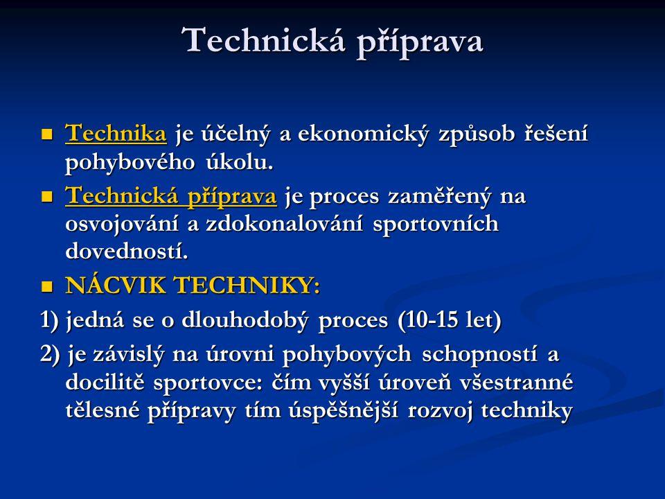 Technická příprava Technika je účelný a ekonomický způsob řešení pohybového úkolu.