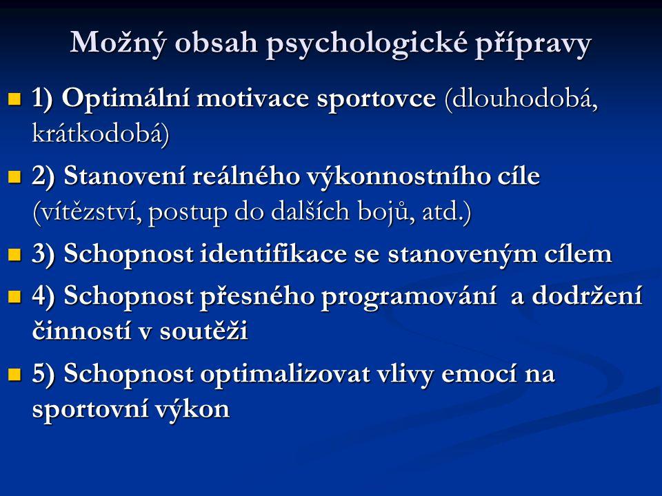 Možný obsah psychologické přípravy