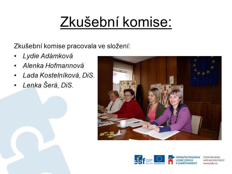 Zkušební komise: Zkušební komise pracovala ve složení: Lydie Adámková