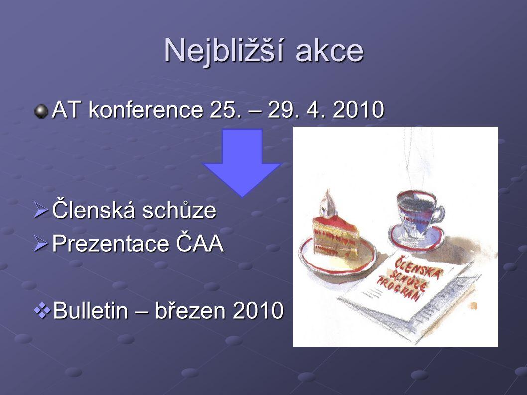 Nejbližší akce AT konference 25. – 29. 4. 2010 Členská schůze