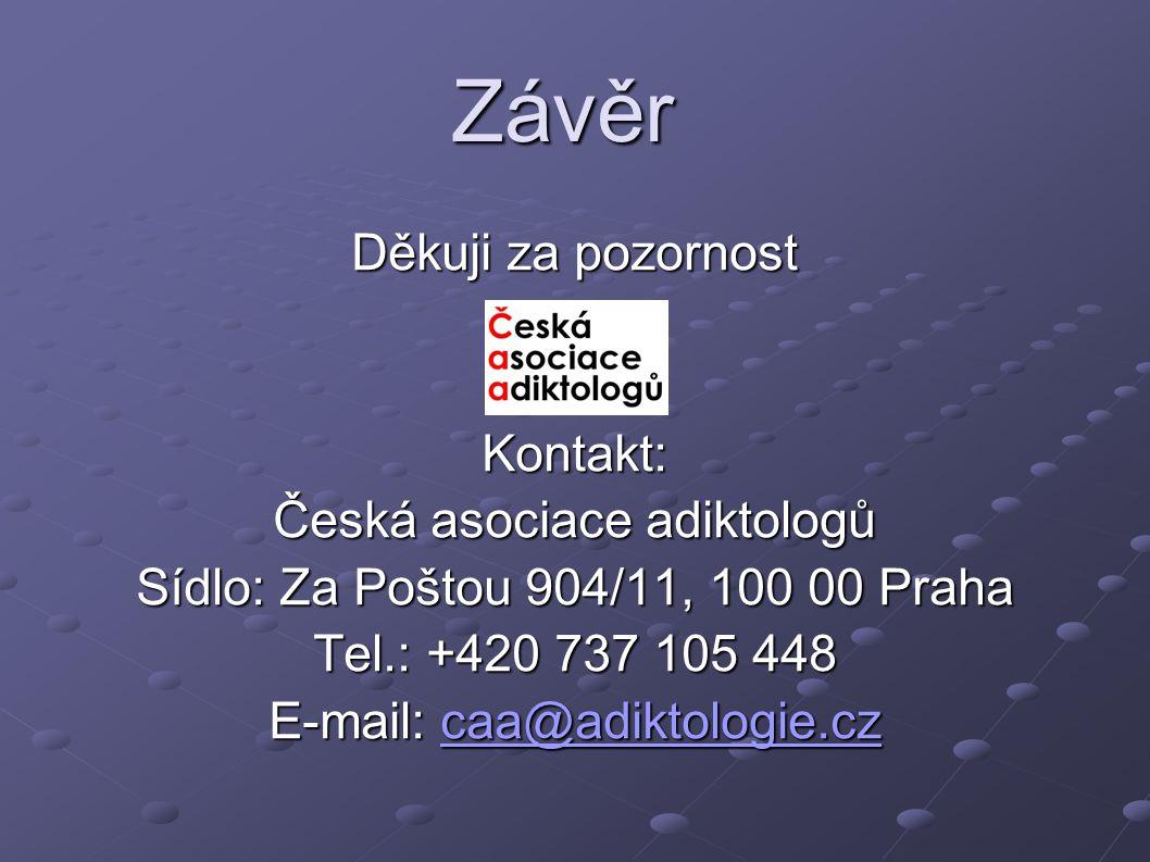Závěr Děkuji za pozornost Kontakt: Česká asociace adiktologů