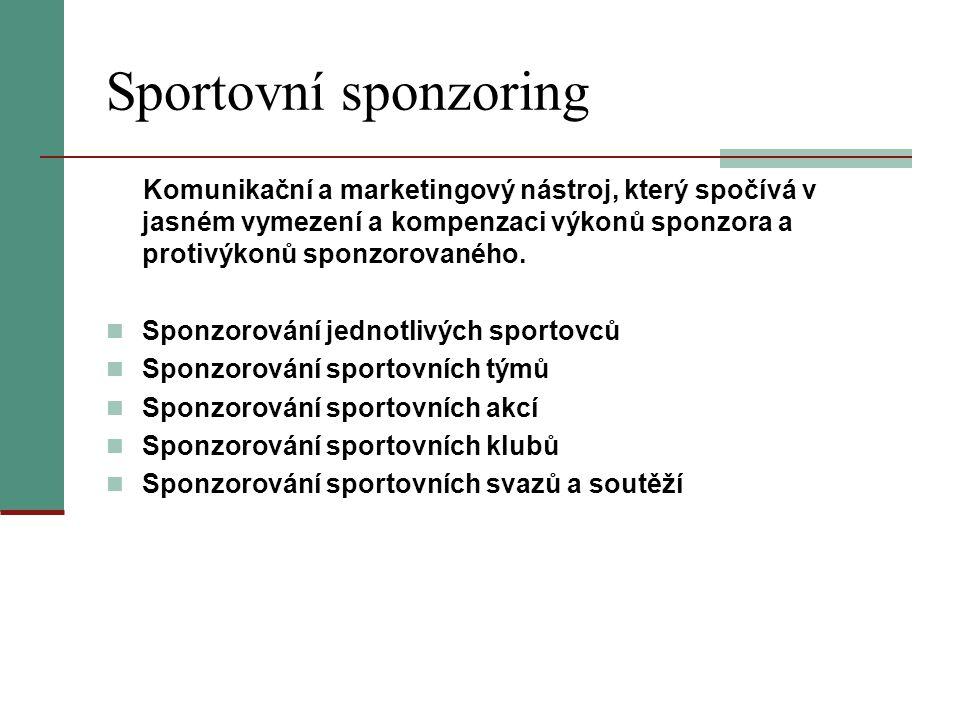 Sportovní sponzoring Komunikační a marketingový nástroj, který spočívá v jasném vymezení a kompenzaci výkonů sponzora a protivýkonů sponzorovaného.