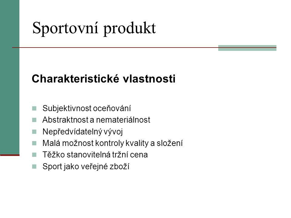 Sportovní produkt Charakteristické vlastnosti Subjektivnost oceňování