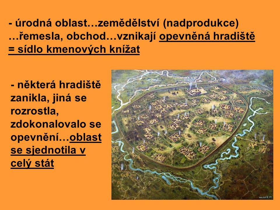- úrodná oblast…zemědělství (nadprodukce) …řemesla, obchod…vznikají opevněná hradiště = sídlo kmenových knížat