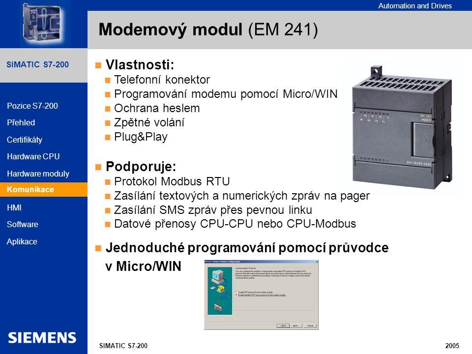 Modemový modul (EM 241) Vlastnosti: Podporuje: