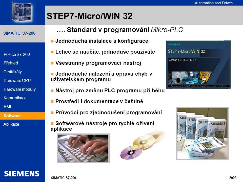 STEP7-Micro/WIN 32 …. Standard v programování Mikro-PLC