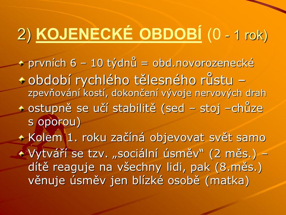 2) KOJENECKÉ OBDOBÍ (0 - 1 rok)