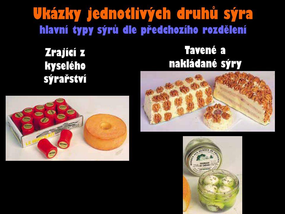 Ukázky jednotlivých druhů sýra hlavní typy sýrů dle předchozího rozdělení