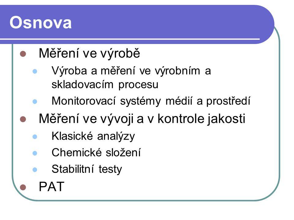 Osnova Měření ve výrobě Měření ve vývoji a v kontrole jakosti PAT
