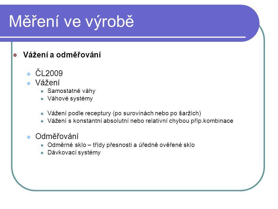 Měření ve výrobě Vážení a odměřování ČL2009 Vážení Odměřování