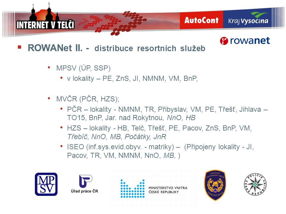 ROWANet II. - distribuce resortních služeb