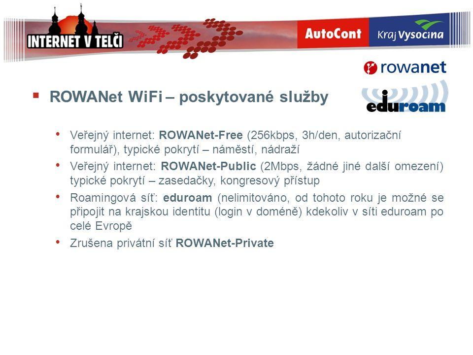 ROWANet WiFi – poskytované služby