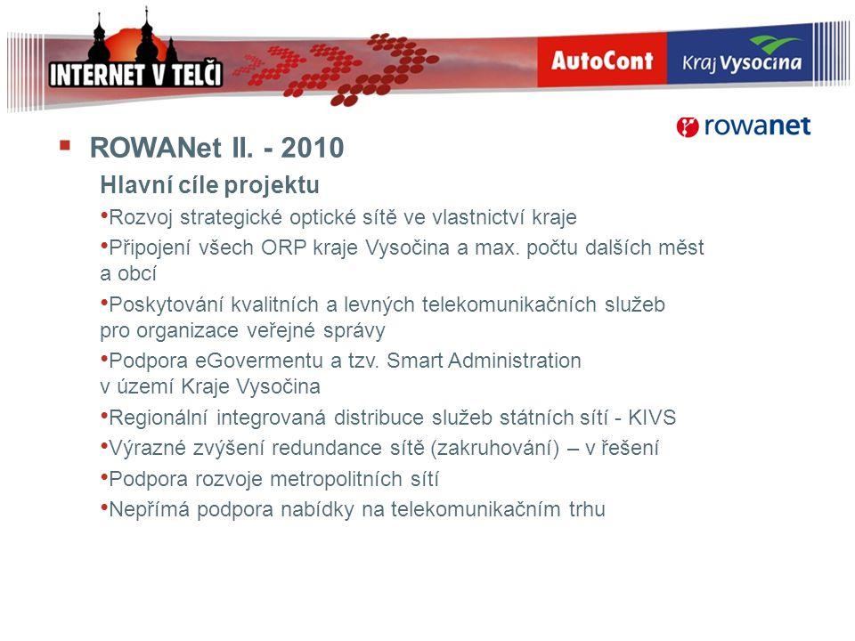 ROWANet II. - 2010 Hlavní cíle projektu
