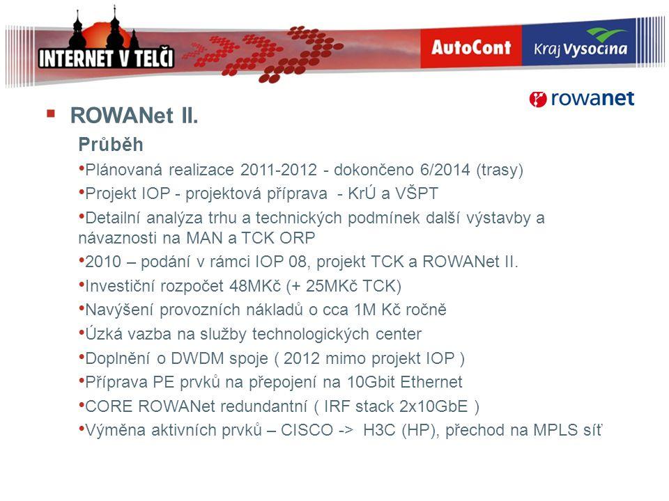ROWANet II. Průběh. Plánovaná realizace 2011-2012 - dokončeno 6/2014 (trasy) Projekt IOP - projektová příprava - KrÚ a VŠPT.