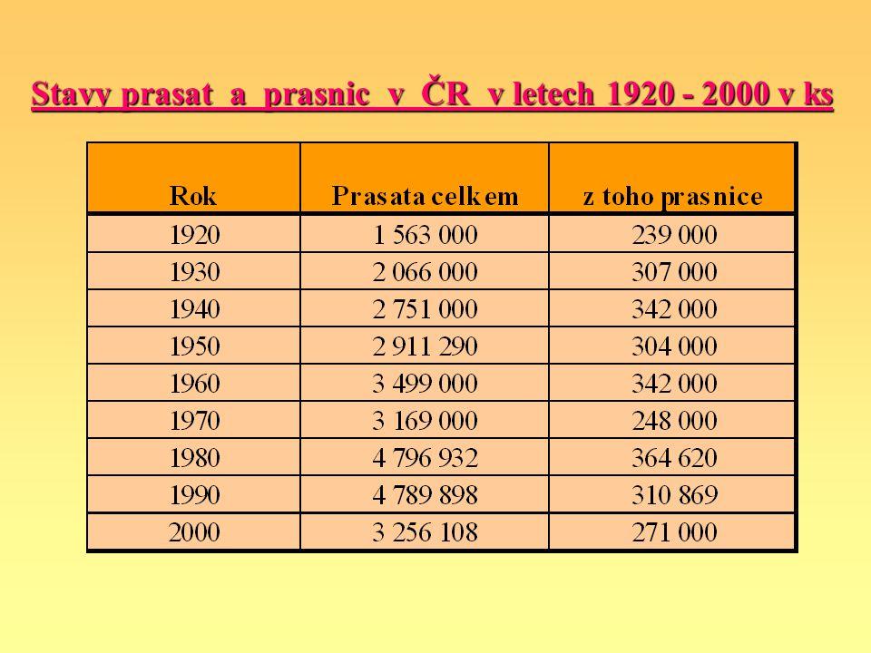 Stavy prasat a prasnic v ČR v letech 1920 - 2000 v ks