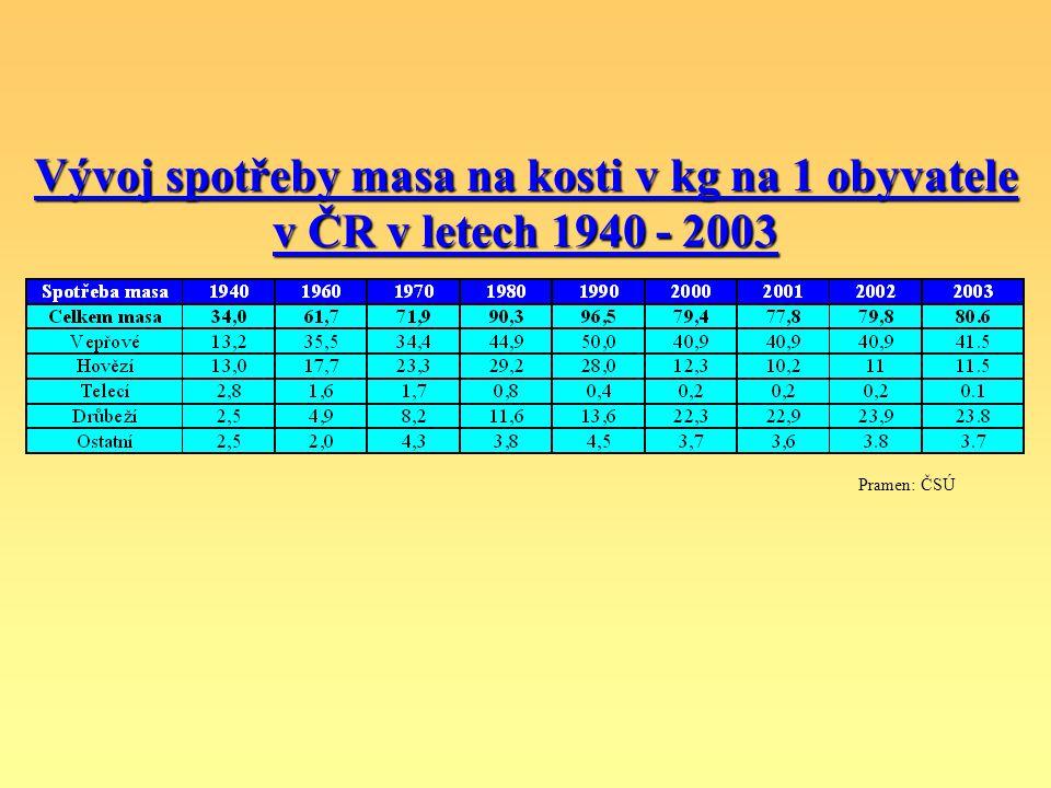 Vývoj spotřeby masa na kosti v kg na 1 obyvatele v ČR v letech 1940 - 2003
