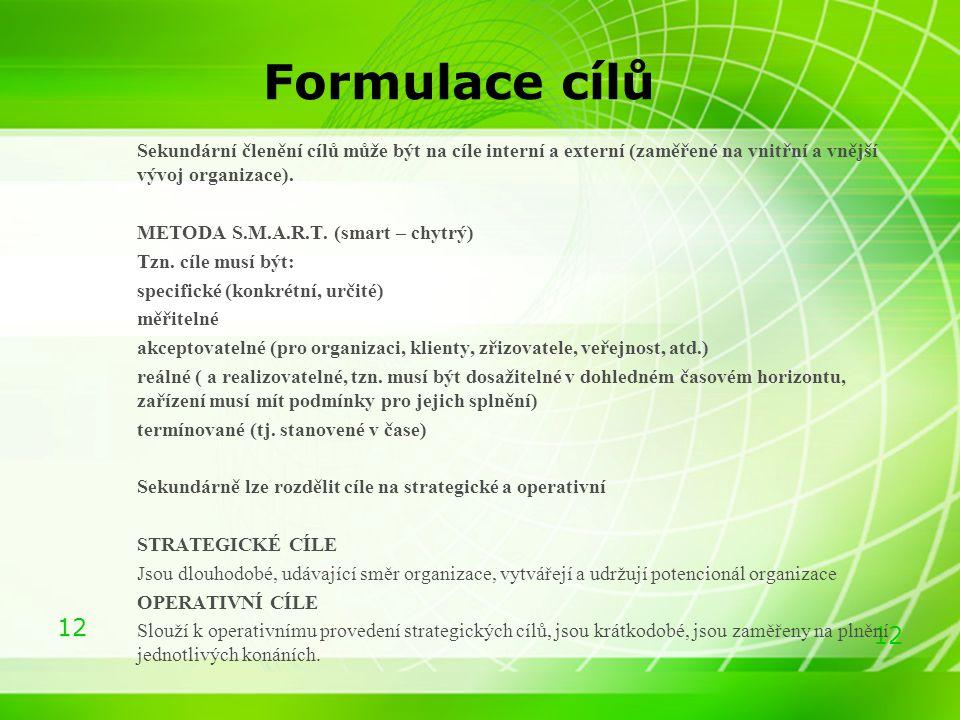 Formulace cílů Sekundární členění cílů může být na cíle interní a externí (zaměřené na vnitřní a vnější vývoj organizace).