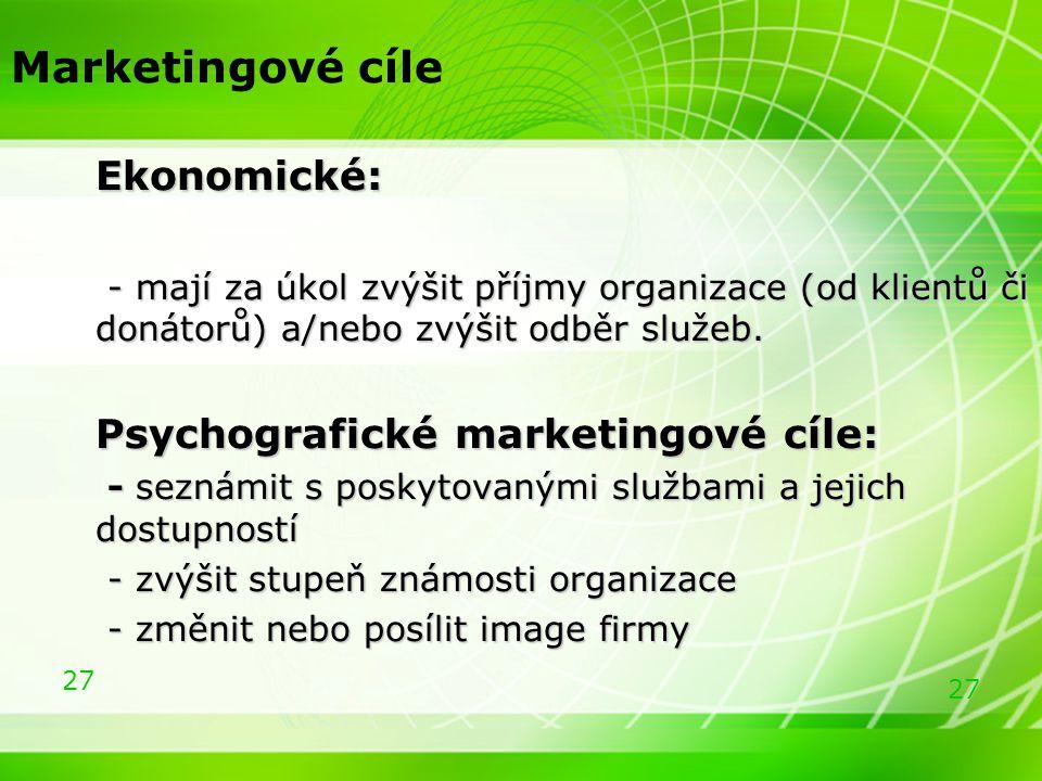 Marketingové cíle Ekonomické: Psychografické marketingové cíle: