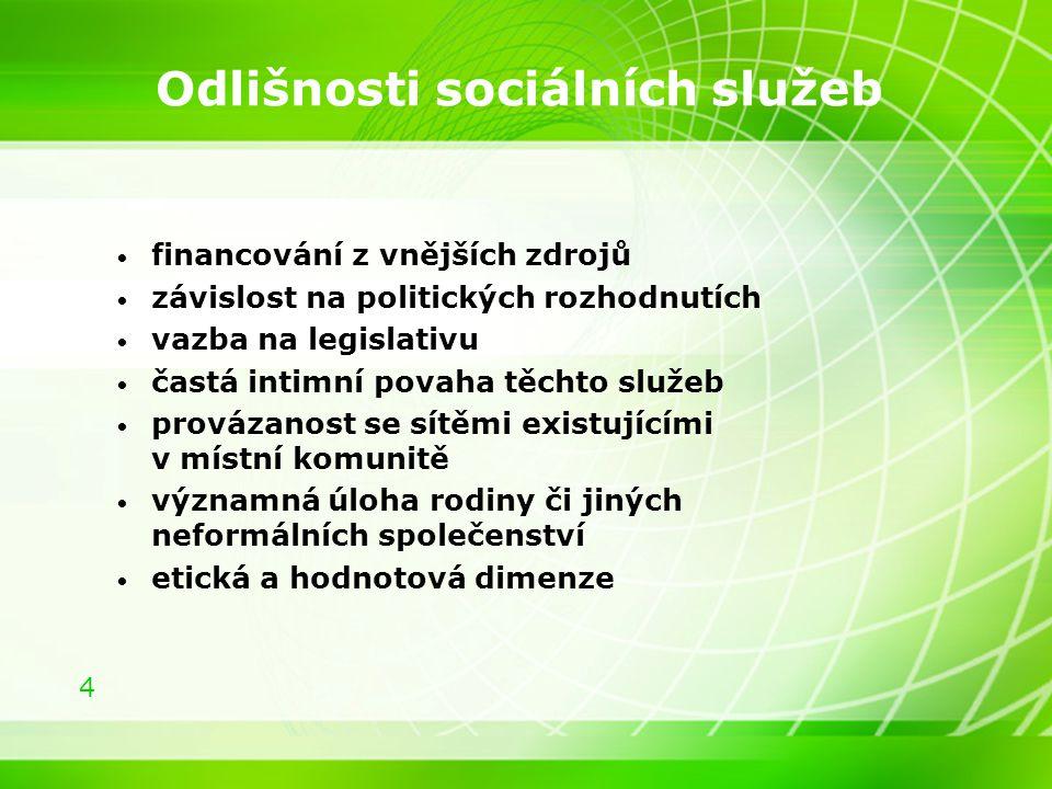 Odlišnosti sociálních služeb