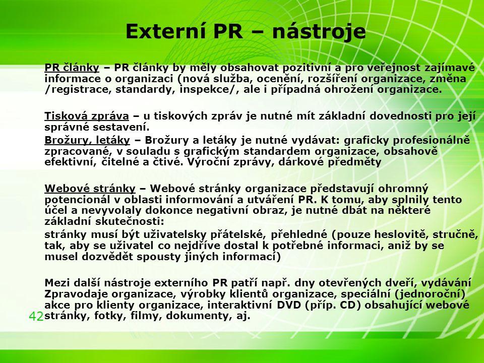 Externí PR – nástroje