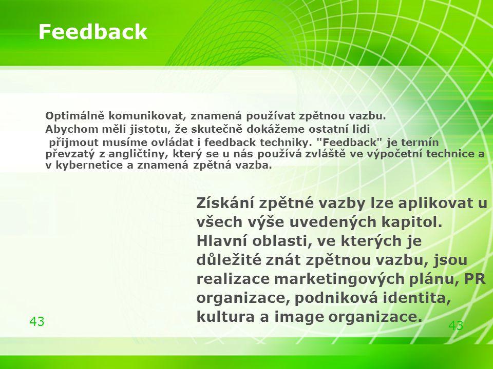 Feedback Získání zpětné vazby lze aplikovat u