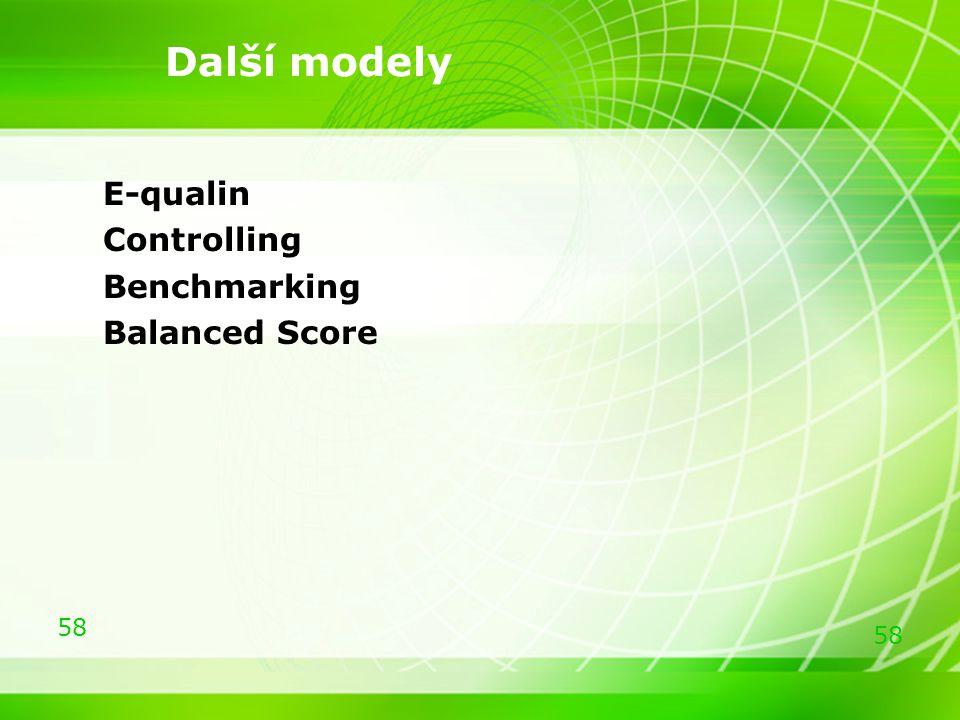 Další modely E-qualin Controlling Benchmarking Balanced Score 58