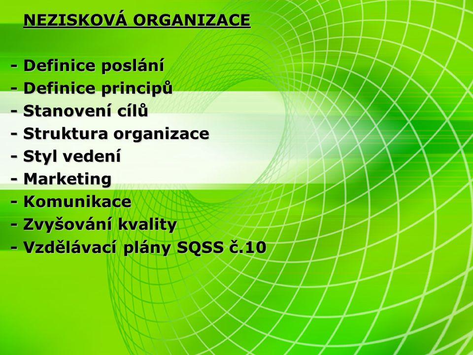 - Struktura organizace - Styl vedení - Marketing - Komunikace