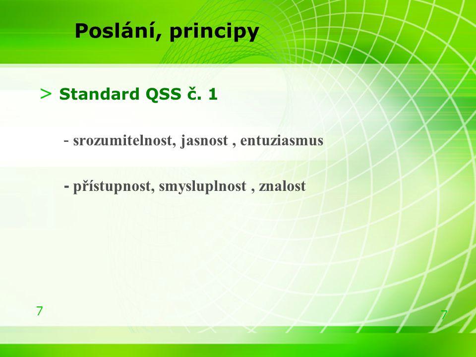 Poslání, principy Standard QSS č. 1