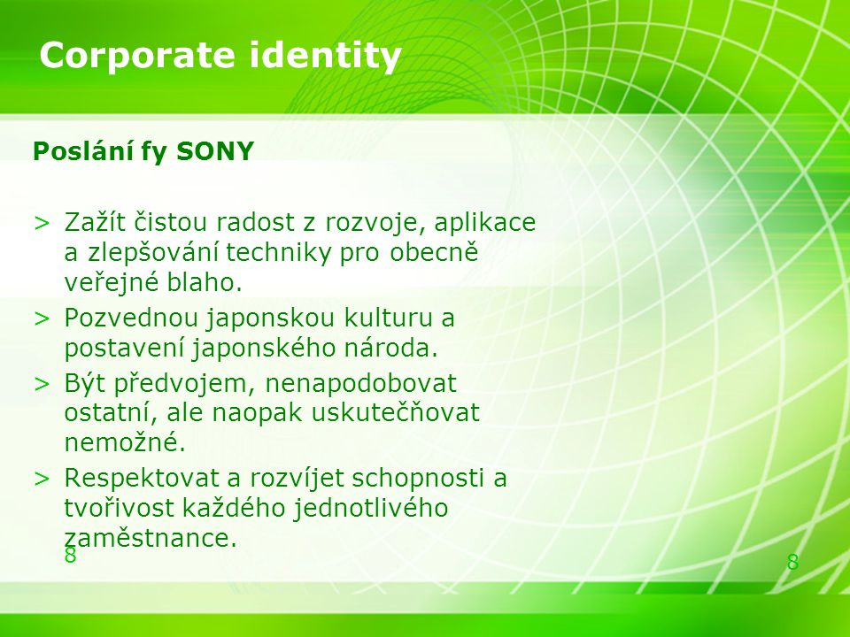 Corporate identity Poslání fy SONY