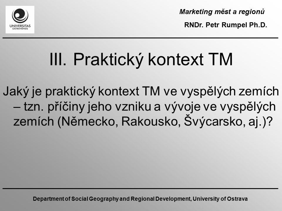 III. Praktický kontext TM