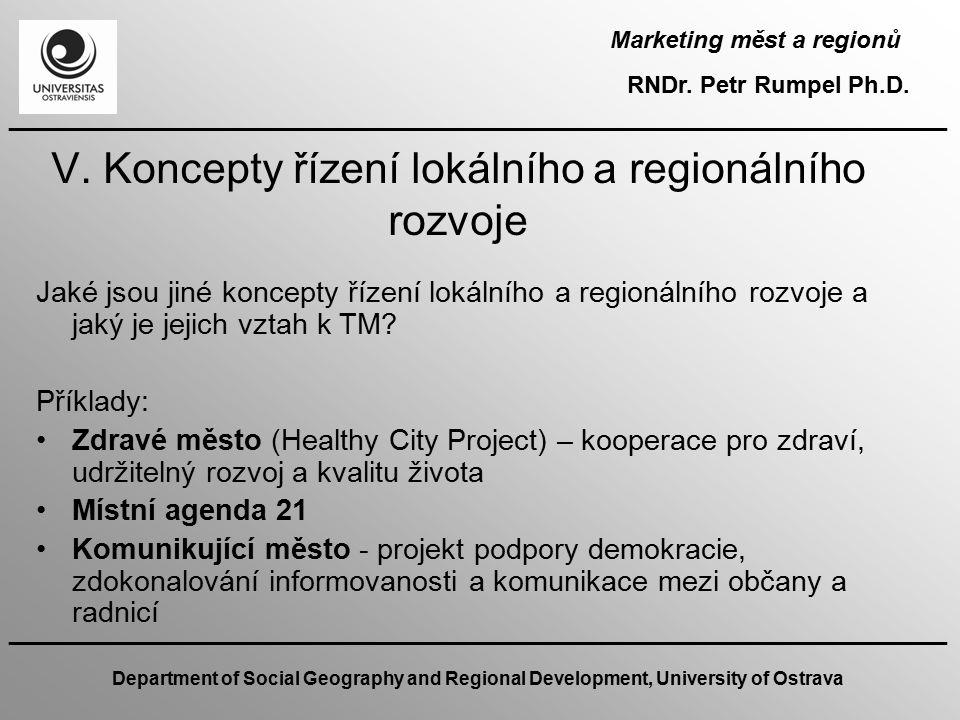 V. Koncepty řízení lokálního a regionálního rozvoje
