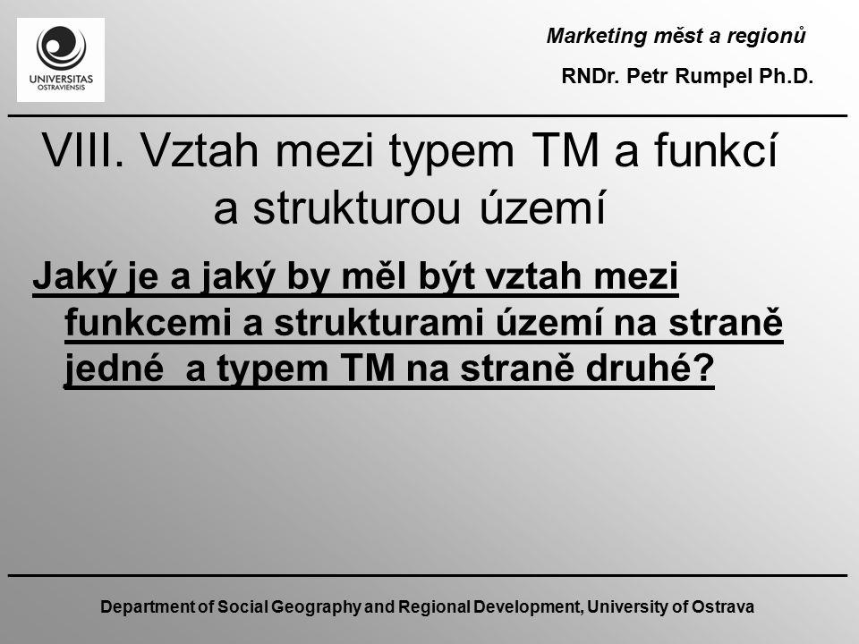 VIII. Vztah mezi typem TM a funkcí a strukturou území