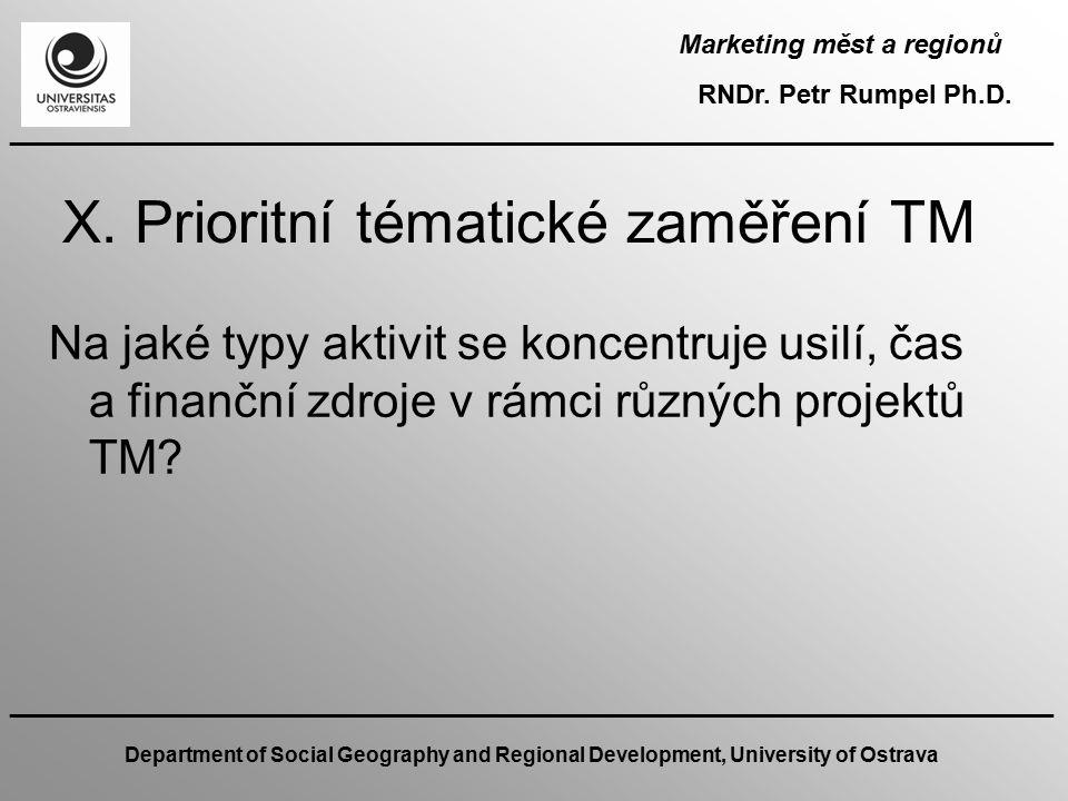 X. Prioritní tématické zaměření TM