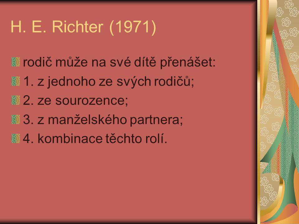 H. E. Richter (1971) rodič může na své dítě přenášet: