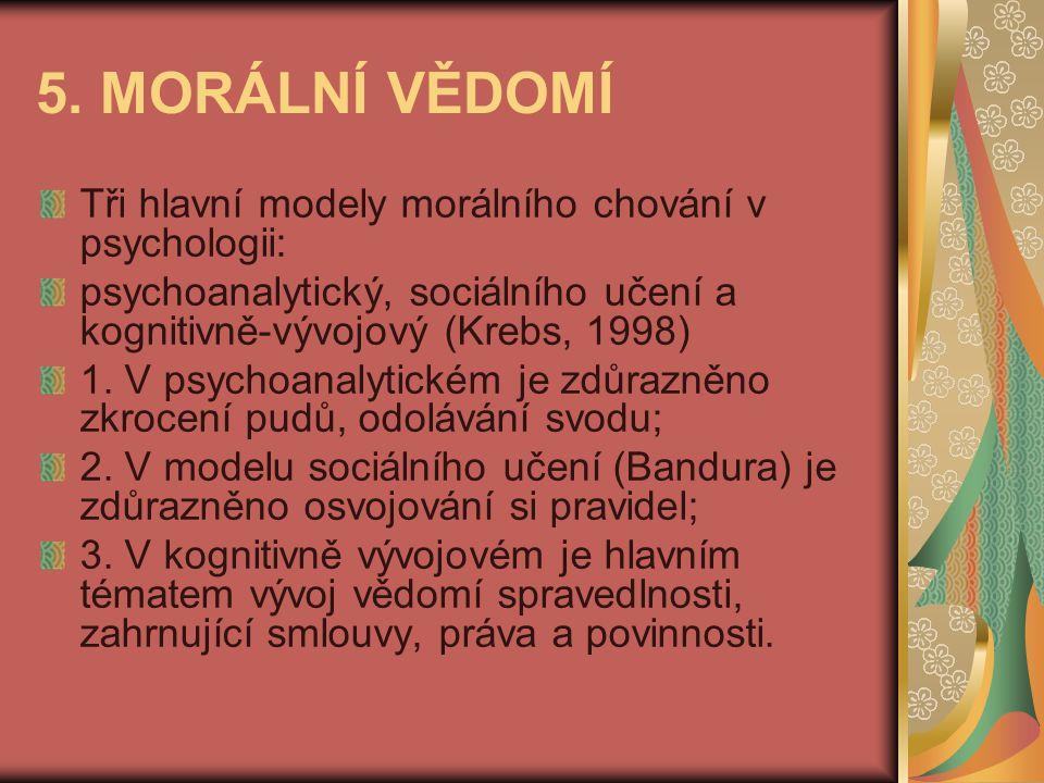 5. MORÁLNÍ VĚDOMÍ Tři hlavní modely morálního chování v psychologii: