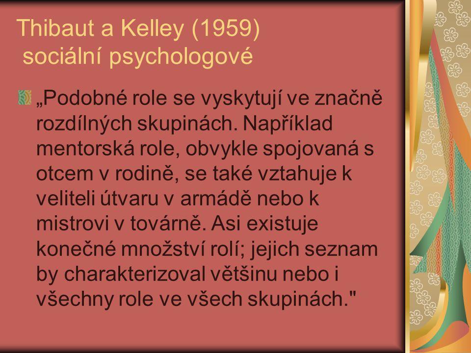 Thibaut a Kelley (1959) sociální psychologové