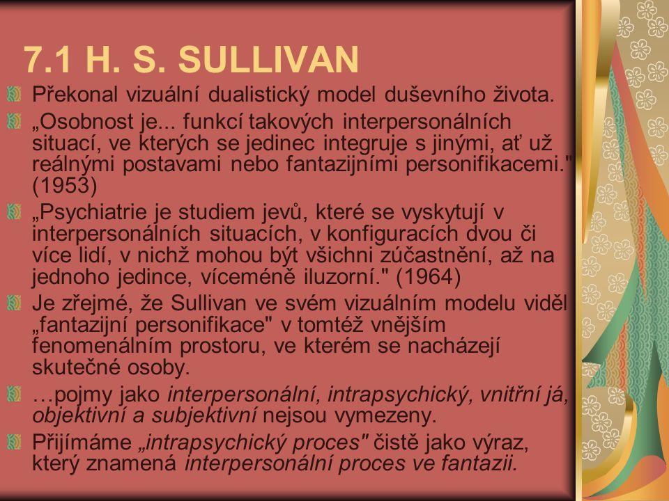 7.1 H. S. SULLIVAN Překonal vizuální dualistický model duševního života.
