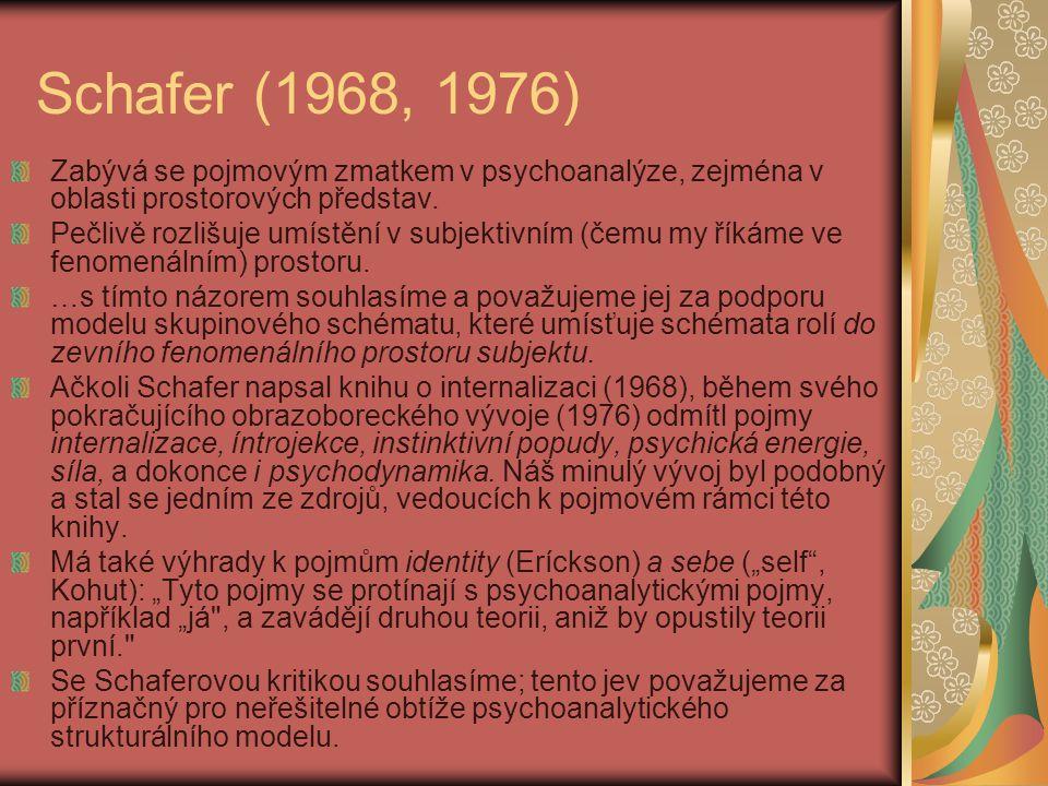 Schafer (1968, 1976) Zabývá se pojmovým zmatkem v psychoanalýze, zejména v oblasti prostorových představ.