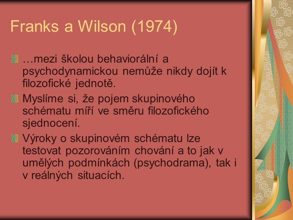 Franks a Wilson (1974) …mezi školou behaviorální a psychodynamickou nemůže nikdy dojít k filozofické jednotě.