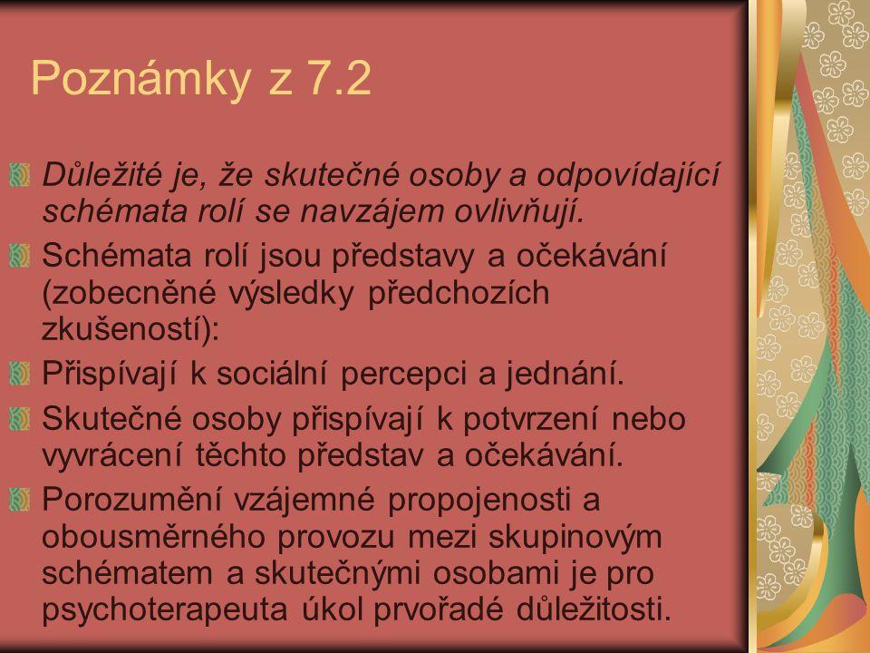 Poznámky z 7.2 Důležité je, že skutečné osoby a odpovídající schémata rolí se navzájem ovlivňují.
