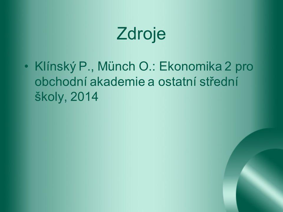 Zdroje Klínský P., Münch O.: Ekonomika 2 pro obchodní akademie a ostatní střední školy, 2014