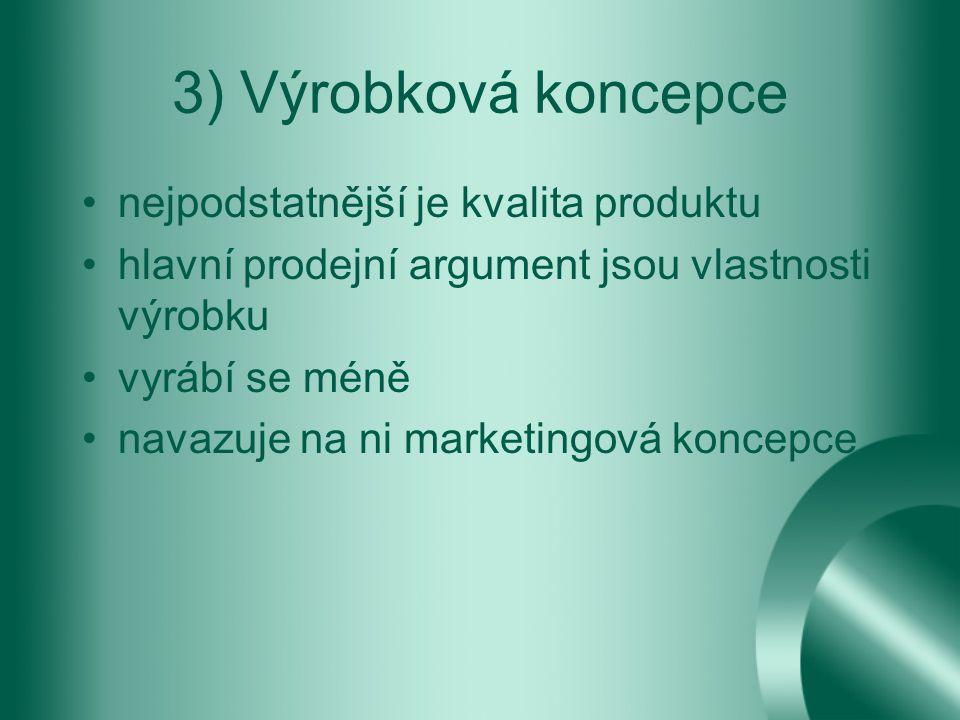 3) Výrobková koncepce nejpodstatnější je kvalita produktu